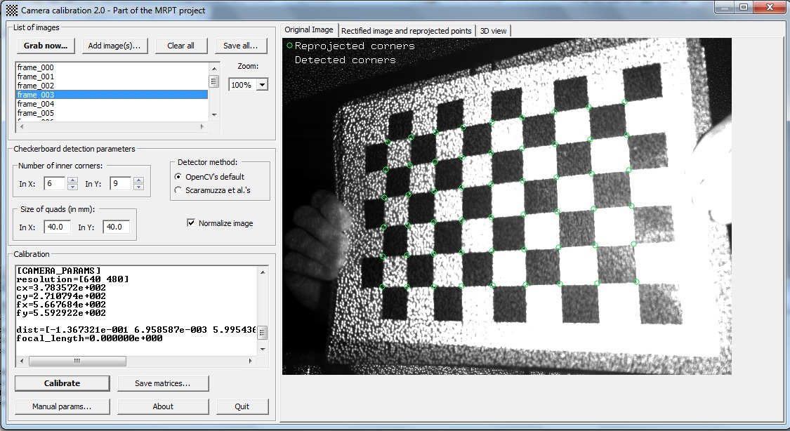 Calibrating the infrarred (IR) channel camera of a Kinect.